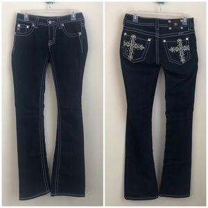 NEW Miss Me • dark wash boot cut cross jeans